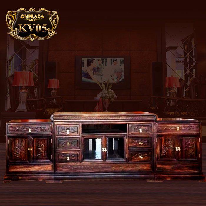 Mẫu kệ tủ tivi bằng gỗ mun thiết kế kiểu sập cổ