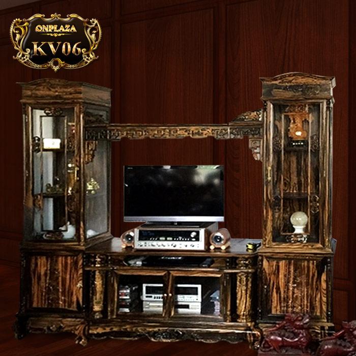 mẫu kệ tivi phòng khách bằng gỗ mun 2 buồng tủ kiểu cổ điển