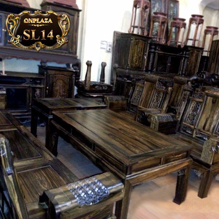 bộ bàn ghế sa lông bằng gỗ mun hoa trang trí phòng khách tuyệt đẹp