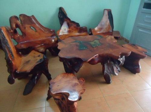 Bộ bàn ghế bằng gốc cây gốc lũa độc và quý của người chơi đồ gỗ