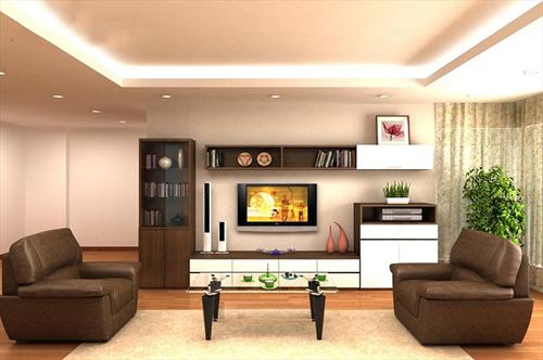 Sự kết hợp bàn ghế kệ tủ tivi và các món lũa đặt ở phòng khách