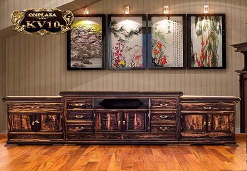 Chiêm ngưỡng 5 mẫu kệ tivi phòng khách cổ điển bằng gỗ mun