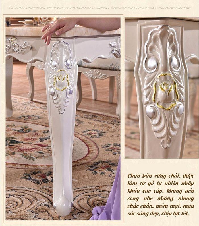 chân bàn bộ bàn ghế ăn gỗ tự nhiên được chạm khắc tinh xảo