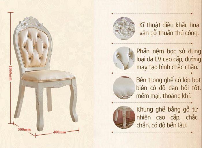 Chiếc ghế của bộ bàn ghế ăn gỗ tự nhiên được bọc nỉ hoặc da cao cấp