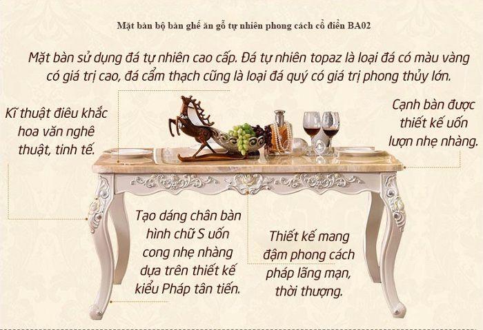 Mặt bàn bộ bàn ghế ăn gỗ tự nhiên được làm bằng đá cẩm thạch thiên nhiên