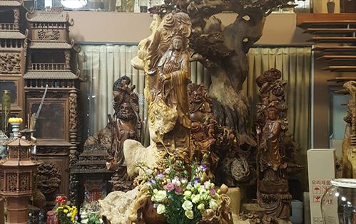 Tổng hợp những mẫu Tượng phật Quan Âm Bồ tát gỗ nu