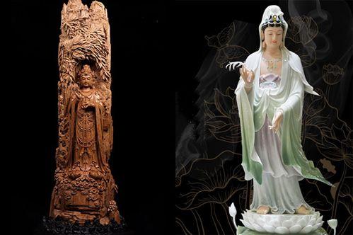 Nên đặt tượng Phật Quán Âm bằng gỗ hay bằng sứ