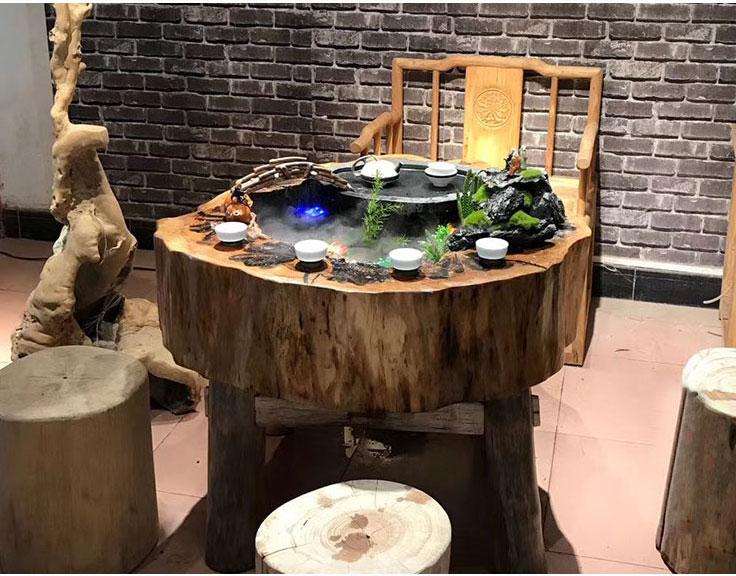 Bàn trà đạo kiểu nhật bằng gỗ Long Não trang trí nghệ thuật LU139