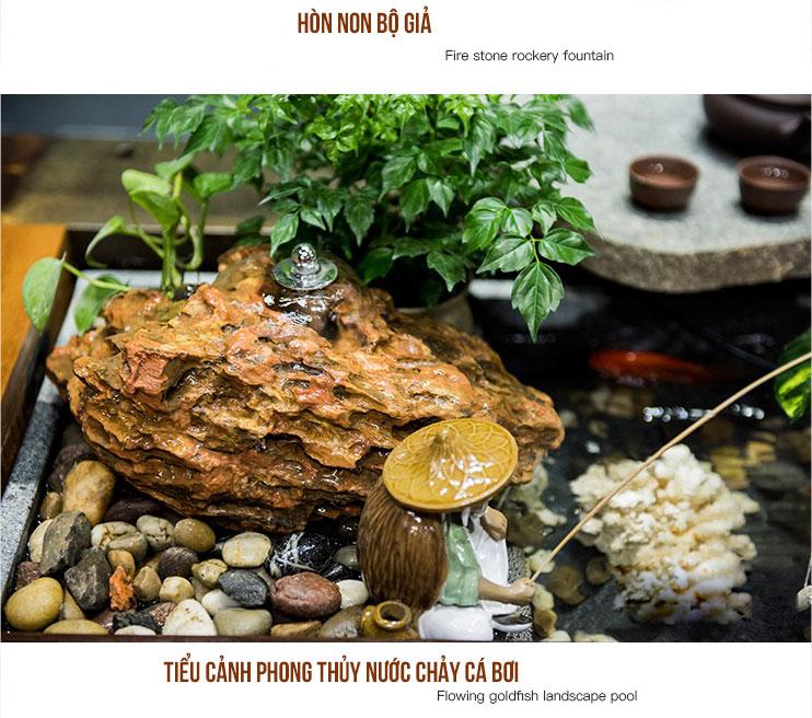 Bộ bàn trà gỗ đóng thuyền cũ gắn tiểu cảnh phong thủy cùng bếp pha trà đa năng độc đáo LU145