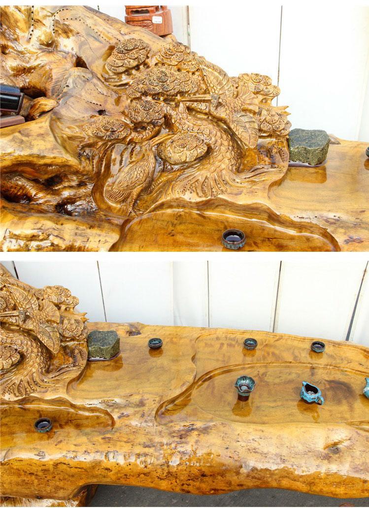 Bàn trà dài chạm khắc nghệ thuật gỗ lũa long não (hàng độc) LU148